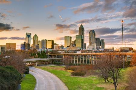 Skyline of Charlotte, North Carolina at dusk