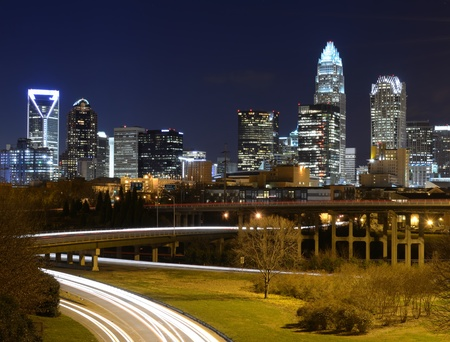 charlotte: Skyline of uptown Charlotte, North Carolina at night.