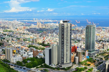 high rise: Aerial view of the Sannomiya district in Downtown Kobe, Japan.