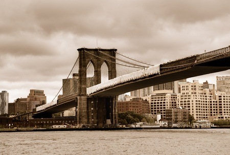 Brooklyn Bridge looking towards Brooklyn with vintage sepia color