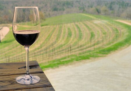 field glass: A vineyard and a glass of wine.