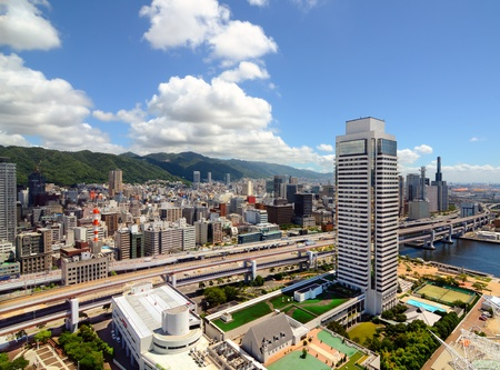 Hanshine Expressway winds through the cityscape of Kobe, Japan