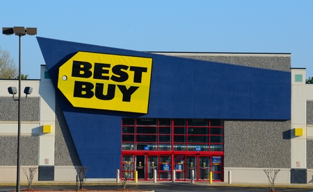 retailer: ATHENS, GEORGIA - MARCH 18: A Best Buy electronics store March 18, 2011 in Athens, GA. The American retailer of consumer electronics accounts for 19% of the U.S. market.  Editorial