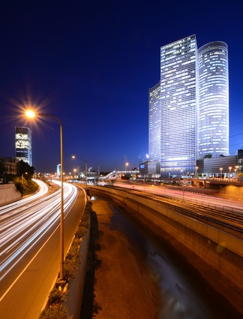 Skyline of Tel Aviv, Israel above the Ayalon Highway  photo