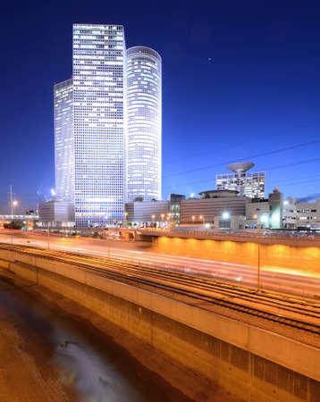ramat aviv: Skyline of Tel Aviv, Israel above the Ayalon Highway