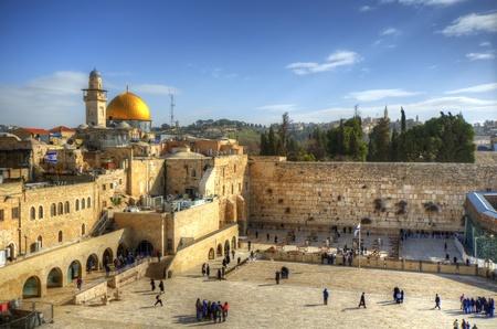 De Westelijke Muur en Koepel van de Rots in Jeruzalem