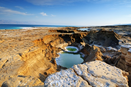 ein: Sink Holes near the Dead Sea in Ein Gedi, Israel  Stock Photo