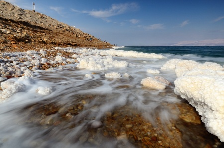 Salt formations in the Dead sea of Israel  photo