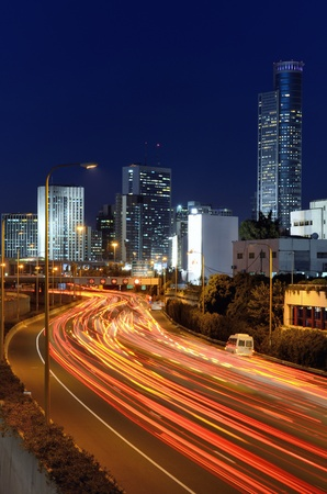 Skyline of Ramat Gan and the Ayalon Highway, the Financial District near Tel Aviv, Isreal  photo