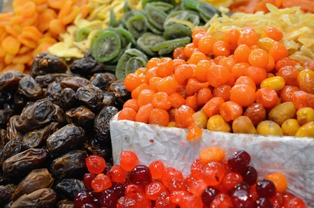 suq: Dried fruits on display at a market Stock Photo