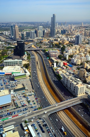 ramat aviv: Skyline of Ramat Gan and the Ayalon Highway, the Financial District near Tel Aviv, Isreal