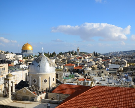 Landmarks such as Dome of the Rock in the Old City of Jerusalem, Israel