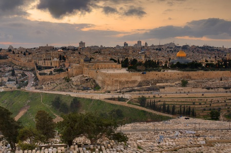 mount of olives: Skyline of Jerusalem, Israel at the Old City viewed from Mount of Olives  Stock Photo