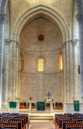 The worship hall of the Lutheran Church of the Redeemer, the second Protestant church in the Old City of Jerusalem , Israel.