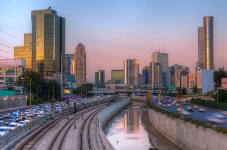 expressway: Skyline of Ramat Gan and the Ayalon Highway, the Financial District near Tel Aviv, Israel. Editorial
