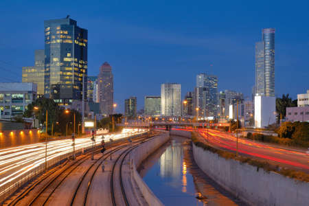 ramat aviv: Skyline of Ramat Gan and the Ayalon Highway, the Financial District near Tel Aviv, Israel. Stock Photo