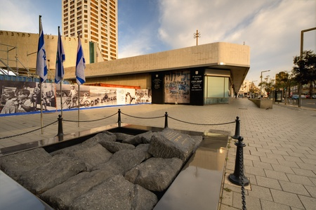 assassinated: TEL AVIV - FEBRUARY 22: Monument marking the spot of the assassination of Prime Minister Yitzhak Rabin February 22, 2012 in Tel Aviv, IL. Rabin was assassinated by right-wing orthodox Jew Yigal Amir.
