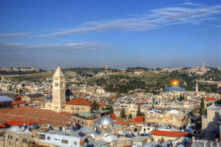 ancient israel: Aerial view the Old City of Jerusalem, Israel.
