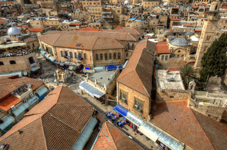 Aerial view of the Christian Quarter in Old City of Jerusalem, Israel. Stock Photo - 12734421