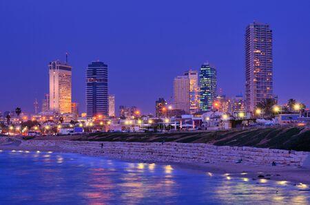 tel: Skyline of Tel Aviv, Israel along the Mediterranean coast.