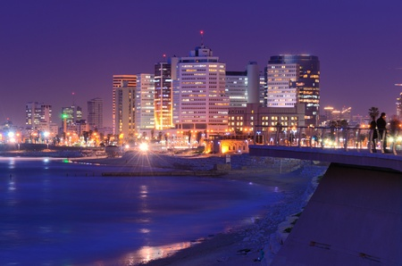 Skyline of Tel Aviv, Israel along the Mediterranean coast.