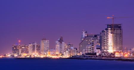 tel aviv: Skyline of Tel Aviv, Israel along the Mediterranean coast.