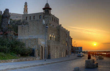 yafo: TEL AVIV - FEBRUARY 22: Old Jaffa at sunset on February 22, 2012 in Tel Aviv, Israel. The walled city was built by Suleiman the Magnificent in 1538, the longest-reigning Sultan of the Ottoman Empire. Editorial