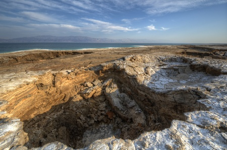 Sink holes near the Dead Sea in Ein Gedi, Israel.