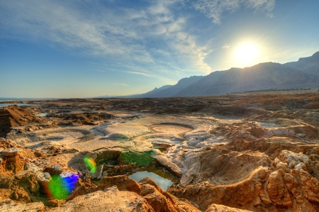 Sink holes near the Dead Sea in Ein Gedi, Israel  Stock Photo - 12741887