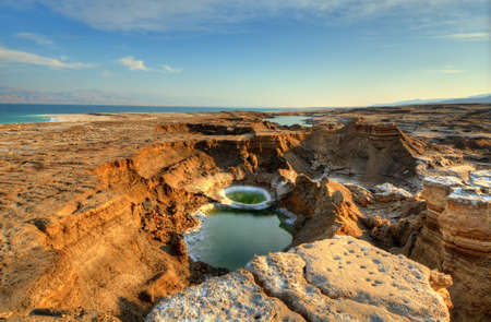 Sink holes near the Dead Sea in Ein Gedi, Israel  Stock Photo