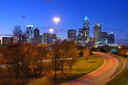 skyline of Uptown, the Financial District of Charlotte, North Carolina  photo