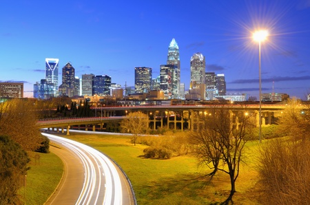charlotte: skyline of Uptown, the Financial District of Charlotte, North Carolina