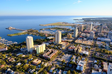 aerial views: Skyline of St. Petersburg, Florida