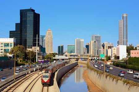 israeli: Skyline of Ramat Gan and the Ayalon Highway, the Financial District near Tel Aviv, Israel. Stock Photo
