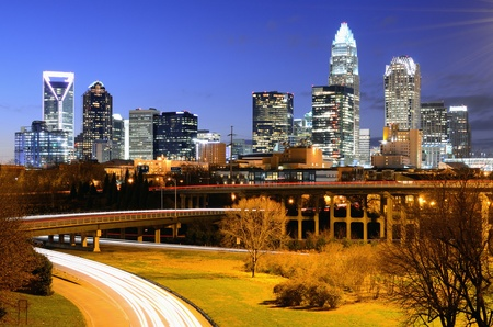 skyline of Uptown, the Financial District of Charlotte, North Carolina. Stock Photo - 12745996