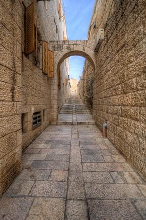 Alleyway in the Old City of Jerusalem, Israel. Stock fotó