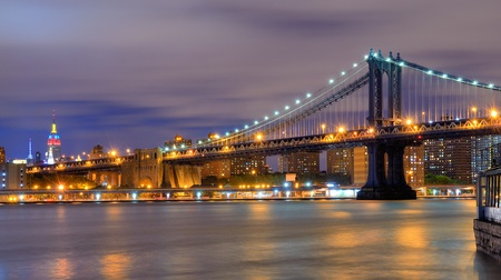 Manhattan Bridge Spanning the East River towards Manhattan and the Empire State Building. Stock Photo - 12746131