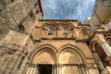 Historic facade of the Church of the Holy Sepulchre in Jerusalem, Israel photo