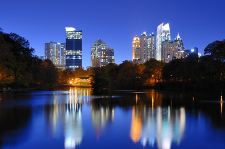 The Downtown Atlanta, Georgia Skyline from Piedmont Parks Lake Meer. photo
