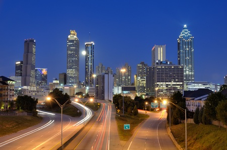 Skyline of Downtown Atlanta, Georgia above Freedom Parkway at twilight. photo