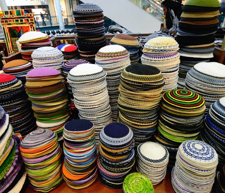 Piles of Judaic Yarmulkes for sale photo