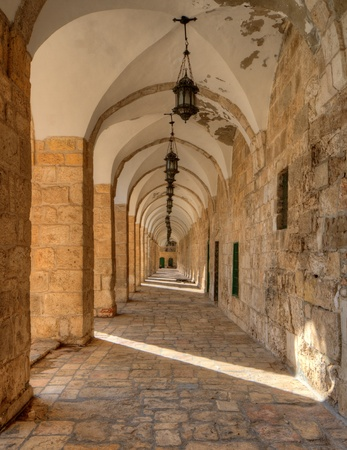 palestinian: Arches on the Temple Mount at the Old City of Jeruaselm