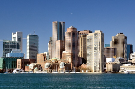 boston skyline: Financial District of Boston, Massachusetts viewed from Boston Harbor.