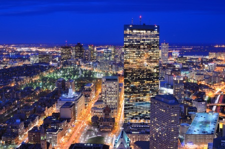 downtown district: Downtown Boston, Massachusetts Aerial View at Night Stock Photo