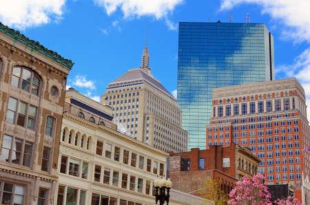 Paisaje urbano en Back Bay de Boston, Massachusetts, EE.UU.. Foto de archivo