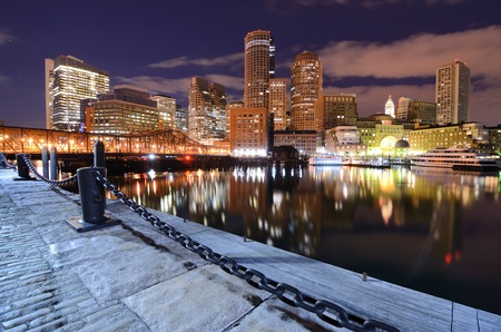 Financial District of Boston, Massachusetts viewed from Boston Harbor. photo