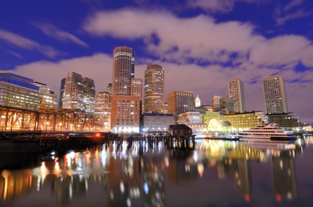 downtown district: Financial District of Boston, Massachusetts viewed from Boston Harbor.