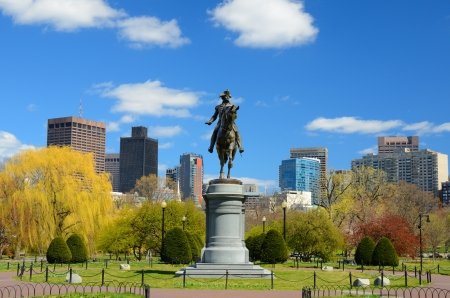 boston skyline: George Washington Equestrian Statue in Boston Public Garden