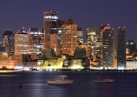 Downtown Boston, Massachusetts Skyline at Night photo