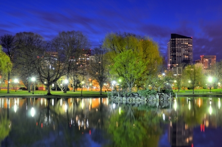skylines: Skyline of Boston, Massachusetts from the Boston Public Gardens.